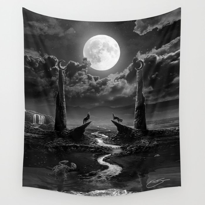 XVIII  The Moon Tarot Card Illustration Wall Tapestry by erictecce