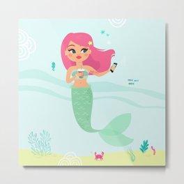 Pink haired Mermaid taking a selfie Metal Print