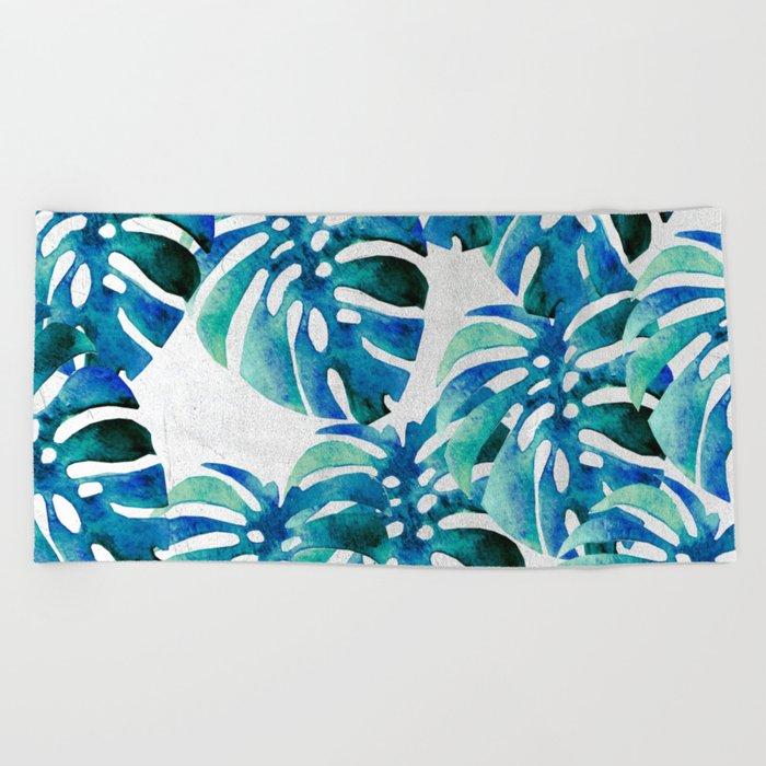 Monstera Pattern Green And Blue Beach Towel