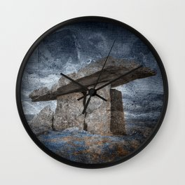 Poulnabrone Dolmen - Blue Winter Grunge Wall Clock
