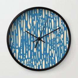 Ice Melt Stripes - Orange Sherbet on Saltwater Taffy Teal Wall Clock