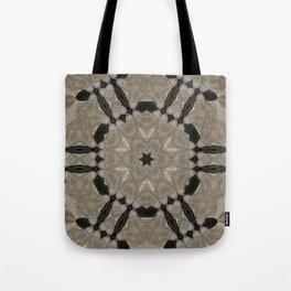 mandala wicker applied star natural color, black background Tote Bag