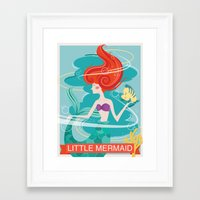 the little mermaid Framed Art Prints featuring Little Mermaid by LindseyCowley