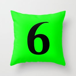 6 (BLACK & LIME NUMBERS) Throw Pillow