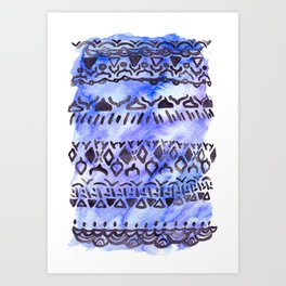Tribal Pattern on Blue & Purple Watercolor Art Print
