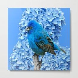 BLUE BIRD & BLUE HYDRANGEAS ART Metal Print