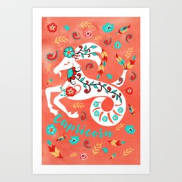 Boho Zodiac Sign- Capricorn Astrology Watercolor Illustration Art Print