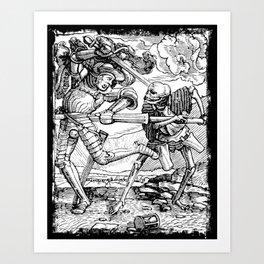 Death Killing a Soldier, Danse Macabre Art Print