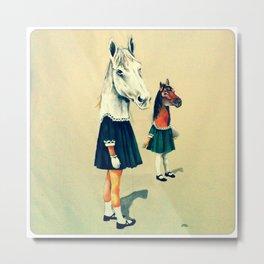 Scholar Horses Metal Print