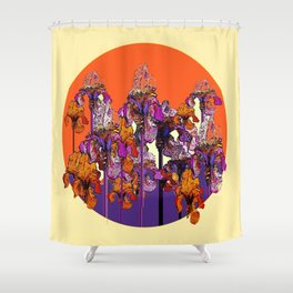 "modern art "" PURPLE & CREAM "" ORANGE IRIS GARDEN Shower Curtain"
