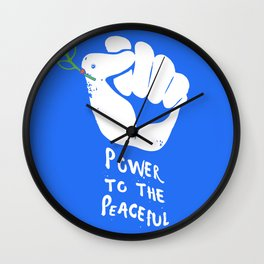 Power to the Peaceful Political Print Wall Clock