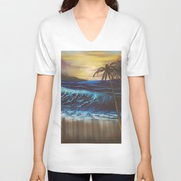 Beach, Tropical Sunset, Waves, by Faye Unisex V-Neck