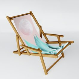 Stellar Agave and Full Moon - pastel aqua and pink Sling Chair