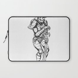 knight skeleton - warrior illustration - skull black and white Laptop Sleeve