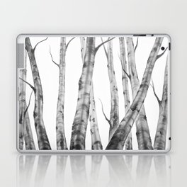 Birch Tree | Watercolour | Painting | black-and-white | Black and White | Minimalism Laptop & iPad Skin