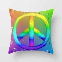 Rainbow Peace Sign Throw Pillow