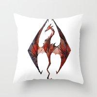 skyrim Throw Pillows featuring Skyrim Alduin by Rubis Firenos