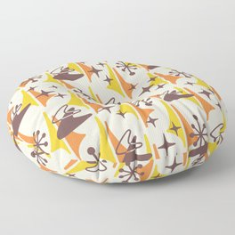 Mid Century Modern Cosmic Boomerang 726 Brown Orange and Yellow Floor Pillow