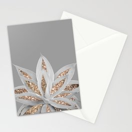 Gray Agave with Gold Glitter #1 #shiny #tropical #decor #art #society6 Stationery Cards