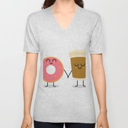 Coffee and donuts Unisex V-Neck