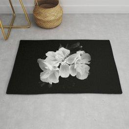 Black and white geranium still-life, Modern minimalist dark moody botanical flower Rug
