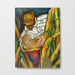 Rumba between sugar canes. Miguez art Metal Print