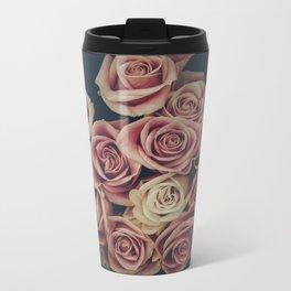 Vintage pink and white roses Metal Travel Mug