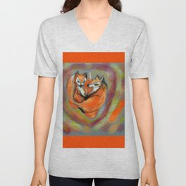 fox heart ,  cardiac Unisex V-Neck