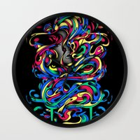 beauty and the beast Wall Clocks featuring Beauty And the Beast by Anwar Rafiee