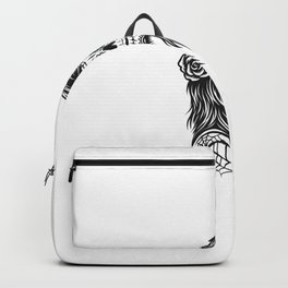 Illustration Black White Skull Girl With Rose Hairs Backpack