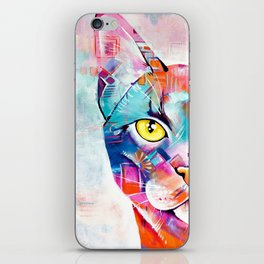 Abstract Cat Portrait - Smoke iPhone Skin