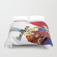 thundercats Duvet Covers featuring Lion-O x MrWetpaint by Mr Wetpaint