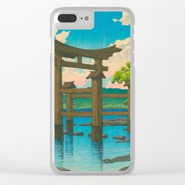 Vintage Japanese Woodblock Print Torii In Water Sacred Shinto Shrine Clear iPhone Case