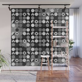 Hectic Geometric On Textured Black And White Wall Mural