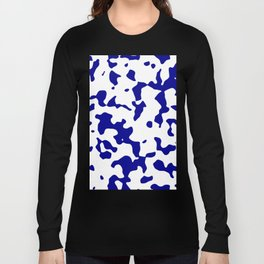 Large Spots - White and Dark Blue Long Sleeve T-shirt
