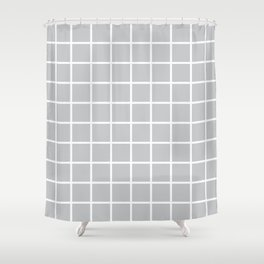 Light Grey Grid Pattern 2 Shower Curtain