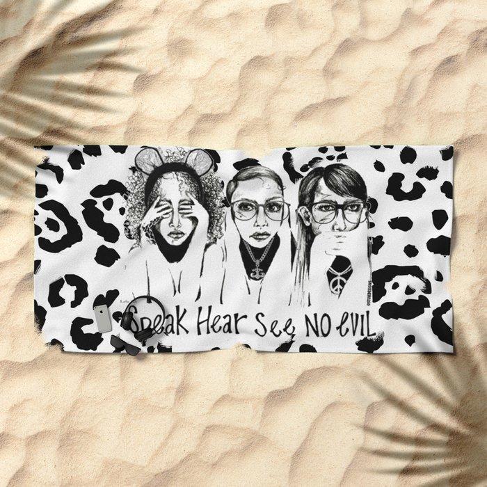 Speak, Hear, See No Evil STUK GIRLS Beach Towel