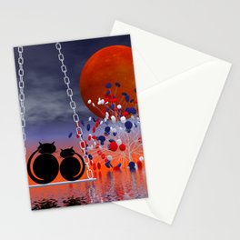 mooncats and their candytree Stationery Cards