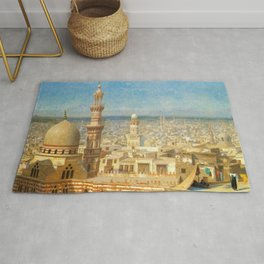 Islamic Masterpiece 'View of Cairo, Egypt' by Jéan Leon Gerome Rug