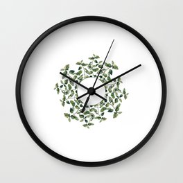 Circular ornament of lemon balm twigs and leaves, isolated on white.  Wall Clock