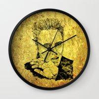 christopher walken Wall Clocks featuring Christopher by Rabassa