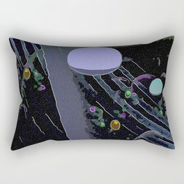 Mauve Sphere Black and Gray Abstract Rectangular Pillow