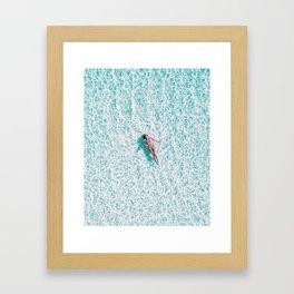 Blue water swimming girl woman beach art Framed Art Print