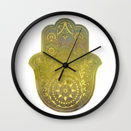 Colorful Watercolor And Gold Hamsa Hand - II Wall Clock