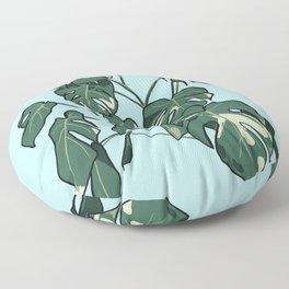 Monstera Deliciosa Bright Blue Floor Pillow