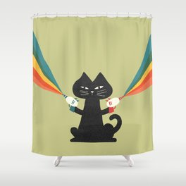 Ray gun cat Shower Curtain