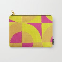 Geometric abstract hand painted neon pink yellow pattern Carry-All Pouch