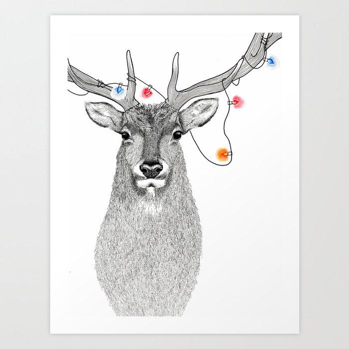 Hand Drawn Elk Pointillism and Watercolour Illustration Art Print