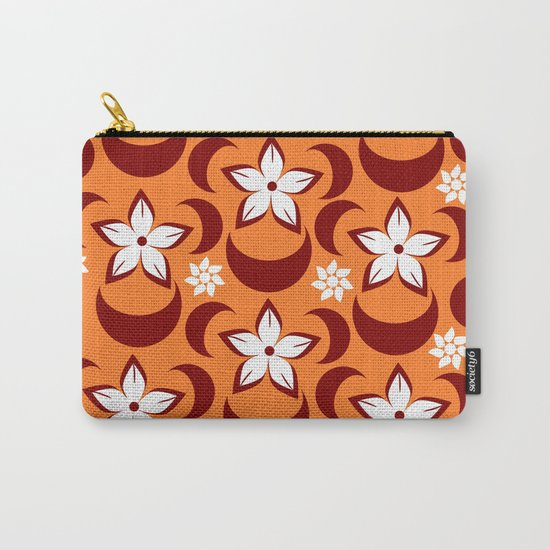 Orange floral fantasy Carry-All Pouch