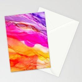 Pocket of Sunshine - fluid art, red orange yellow purple, vibrant fun, playroom Stationery Cards